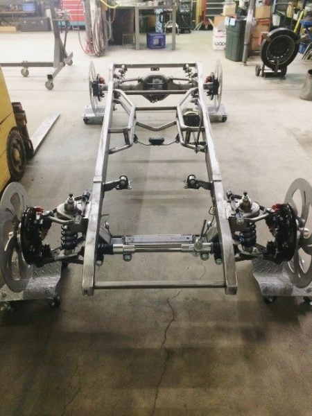 Progressive Automotive 1931-32 Chevrolet car/1931-33 1/2 ton truck frame with optional Wilwood brakes, complete brake system, and RideTech HQ coil-overs.
