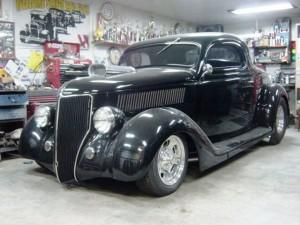 1936 Ford coupe featuring Progressive Automotive chassis