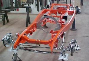 "Progressive Automotive 1933-34 Ford chassis with rear frame rails narrowed more than 2""/4-Link and optional parts"