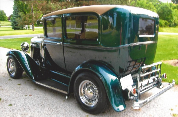 Model A sedan with Progressive Automotive 1928-31 Ford chassis with optional parts