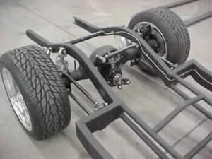 "Progressive Automotive 1941-48 Chevrolet chassis with rear frame rails narrowed more than 2""/4-Link"