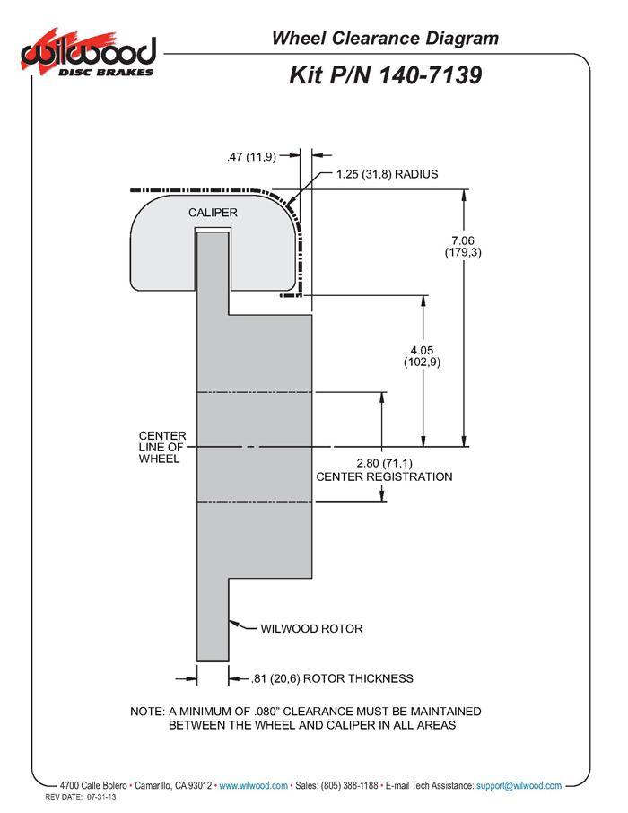 Wilwood 140-7139 fitment diagram shown