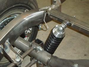 Rear brake line routing, shown