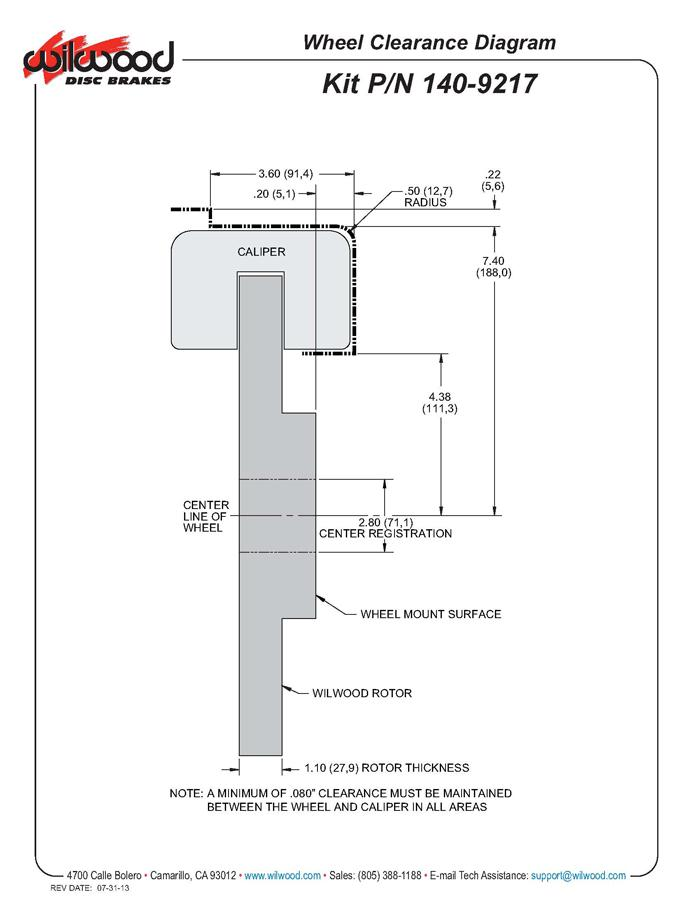 Wilwood 140-9217 fitment diagram shown