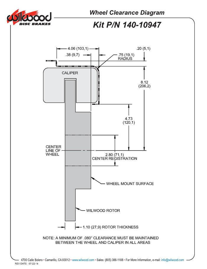 Wilwood 140-10947 fitment diagram shown