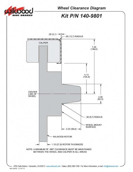 Wilwood 140-9801 series fitment diagram