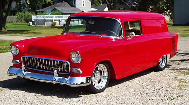 1955 Chevrolet delivery featuring Progressive Automotive chassis