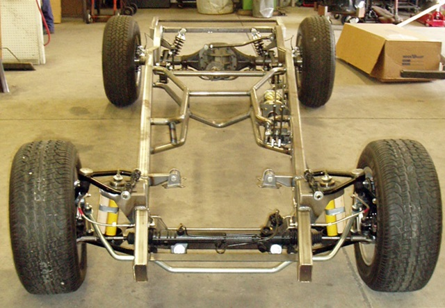 "Progressive Automotive 1941-46 Chevrolet truck chassis with Tubular IFS, 2"" narrowed rear frame rails/Parallel 4-bar and Ride Tech HQ coil-overs"