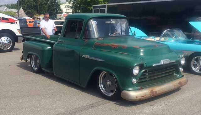 1956 Chevrolet truck featuring Progressive Automotive custom ride height chassis