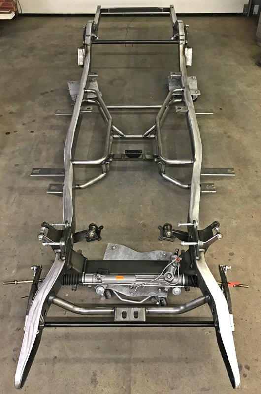 1955-56 Chevy frame with Stock width 1984-87 Corvette brackets